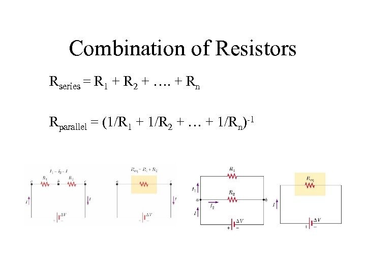 Combination of Resistors Rseries = R 1 + R 2 + …. + Rn