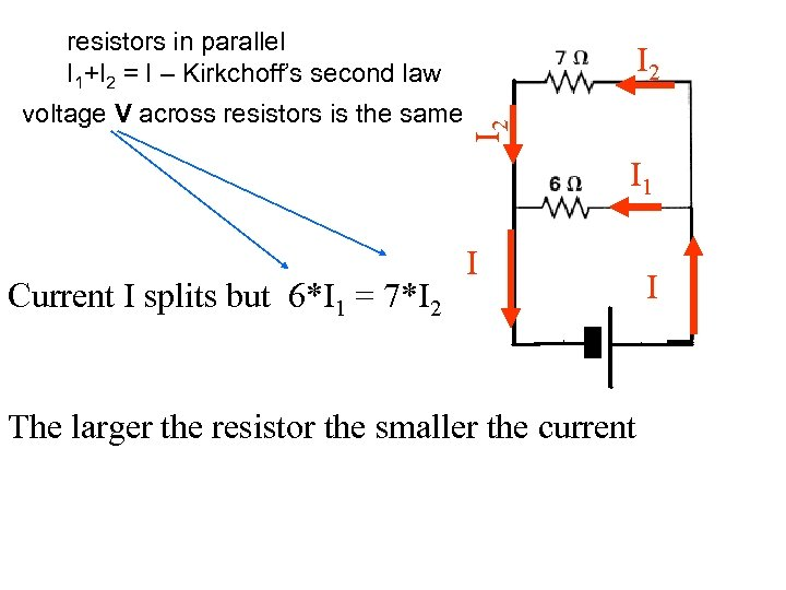 resistors in parallel I 1+I 2 = I – Kirkchoff's second law I 2