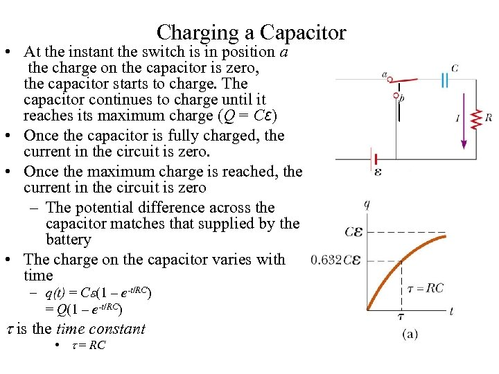 Charging a Capacitor • At the instant the switch is in position a the