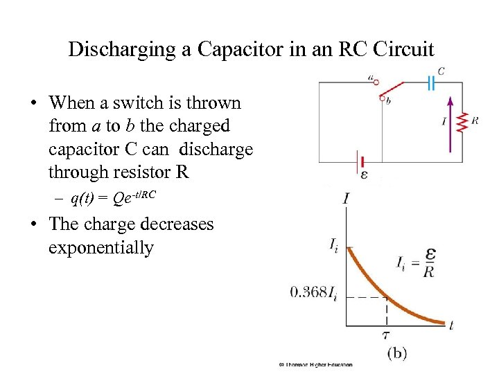 Discharging a Capacitor in an RC Circuit • When a switch is thrown from