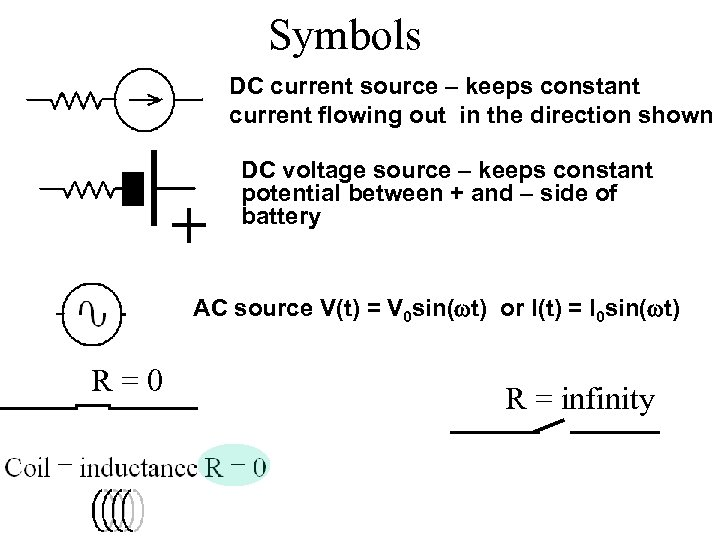 Symbols DC current source – keeps constant current flowing out in the direction shown