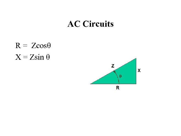 AC Circuits R = Zcosθ X = Zsin θ