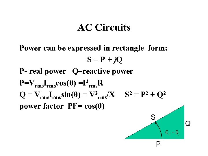 AC Circuits Power can be expressed in rectangle form: S = P + j.