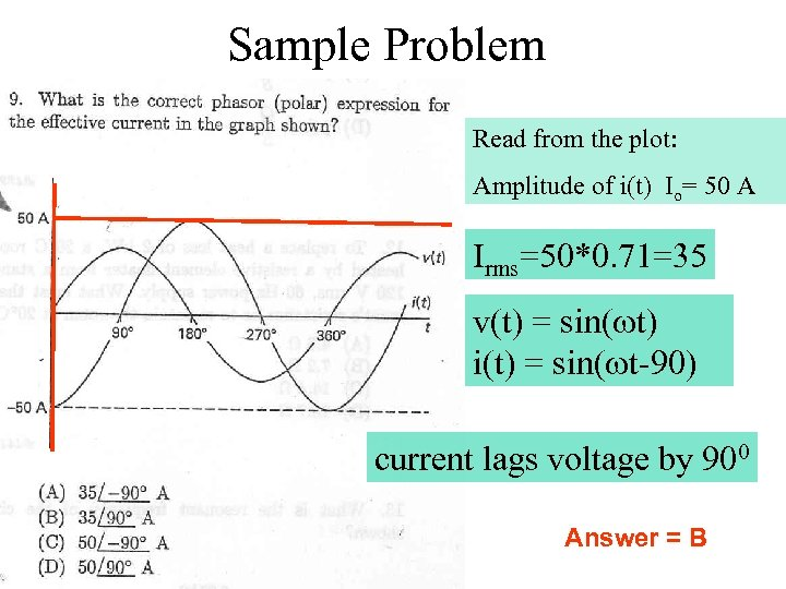 Sample Problem Read from the plot: Amplitude of i(t) Io= 50 A Irms=50*0. 71=35