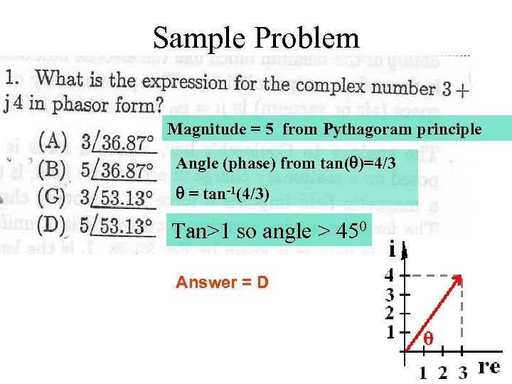 Sample Problem Magnitude = 5 from Pythagoram principle Angle (phase) from tan(q)=4/3 q =