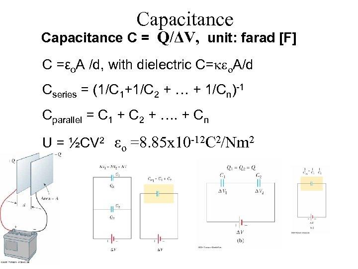 Capacitance C = Q/ΔV, unit: farad [F] C =εo. A /d, with dielectric C=keo.