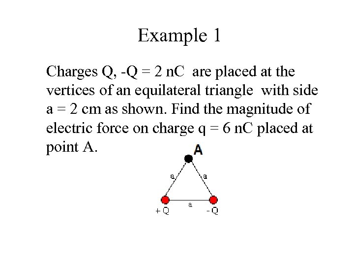 Example 1 Charges Q, -Q = 2 n. C are placed at the vertices