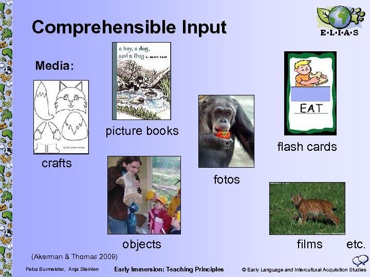 Comprehensible Input E L I A S Media: picture books flash cards crafts fotos