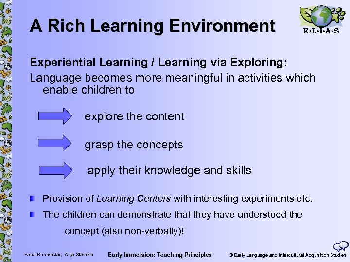 A Rich Learning Environment E L I A S Experiential Learning / Learning via