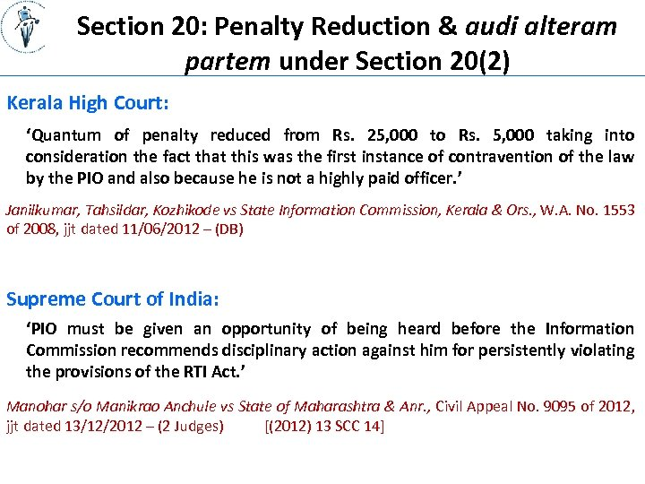 Section 20: Penalty Reduction & audi alteram partem under Section 20(2) Kerala High Court: