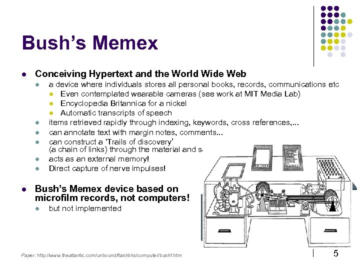 Bush's Memex l Conceiving Hypertext and the World Wide Web l l l l
