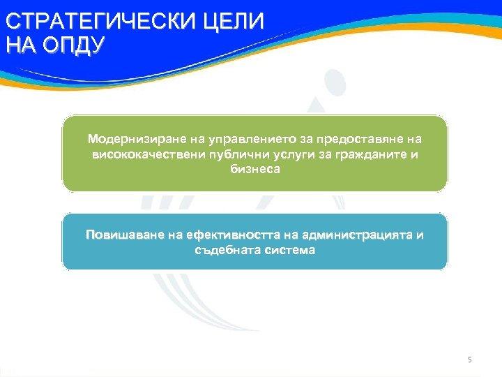 СТРАТЕГИЧЕСКИ ЦЕЛИ НА ОПДУ Модернизиране на управлението за предоставяне на висококачествени публични услуги за