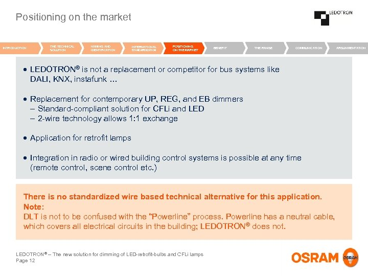 Positioning on the market INTRODUCTION THE TECHNICAL SOLUTION NAMING AND IDENTIFICATION INTERNATIONAL STANDARDIZATION POSITIONING