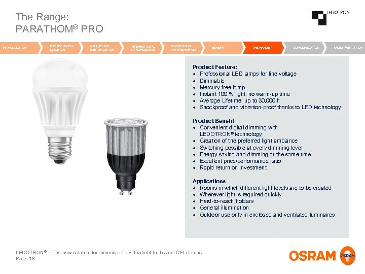 The Range: PARATHOM® PRO INTRODUCTION THE TECHNICAL SOLUTION NAMING AND IDENTIFICATION INTERNATIONAL STANDARDIZATION POSITIONING