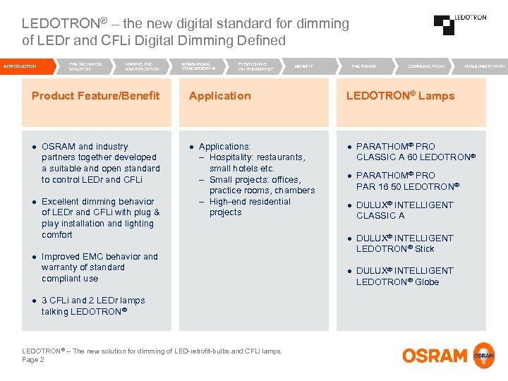 LEDOTRON® – the new digital standard for dimming of LEDr and CFLi Digital Dimming