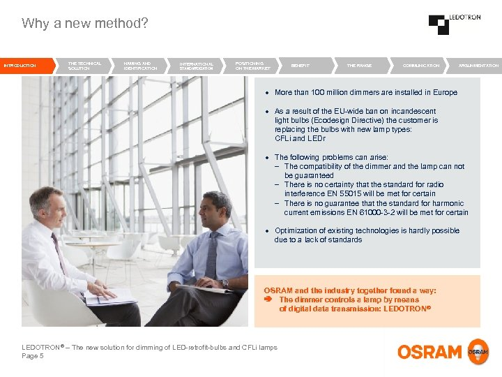Why a new method? INTRODUCTION THE TECHNICAL SOLUTION NAMING AND IDENTIFICATION INTERNATIONAL STANDARDIZATION POSITIONING