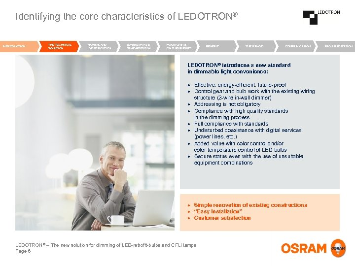 Identifying the core characteristics of LEDOTRON® INTRODUCTION THE TECHNICAL SOLUTION NAMING AND IDENTIFICATION INTERNATIONAL