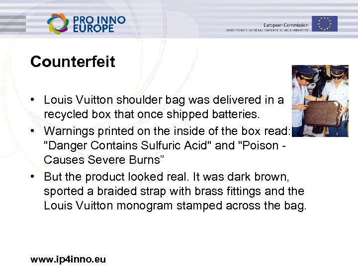 Counterfeit • Louis Vuitton shoulder bag was delivered in a recycled box that once