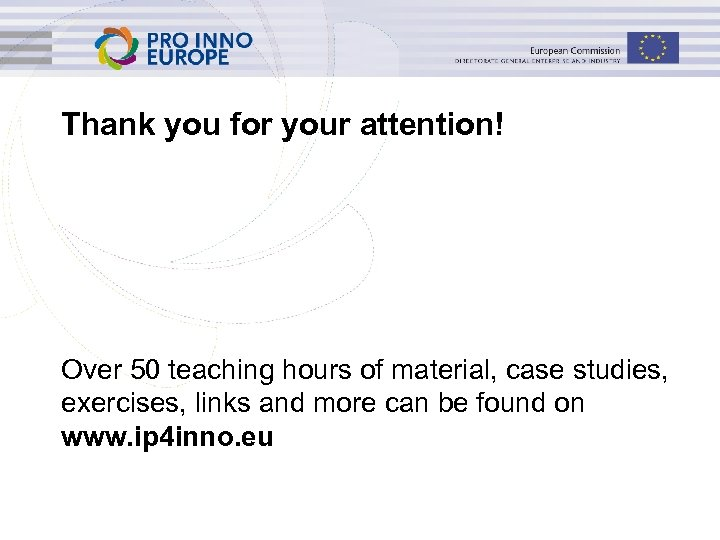 Thank you for your attention! Over 50 teaching hours of material, case studies, exercises,