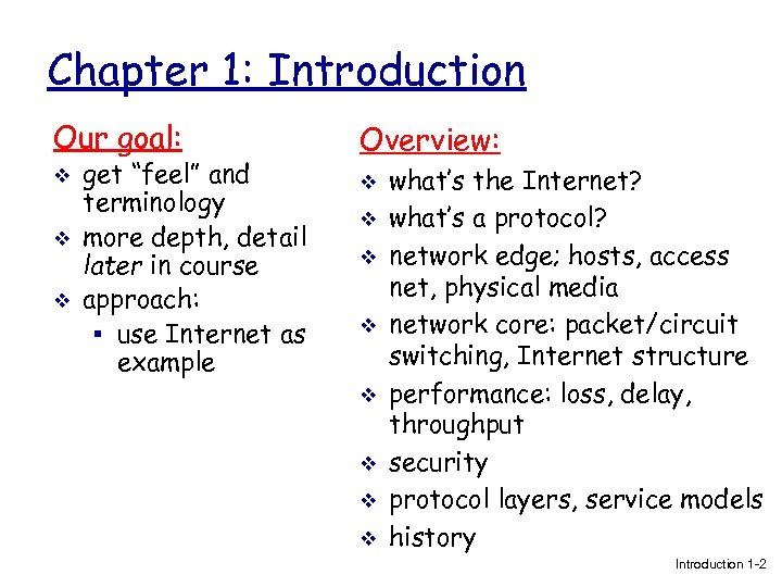 "Chapter 1: Introduction Our goal: Overview: v v get ""feel"" and terminology more depth,"