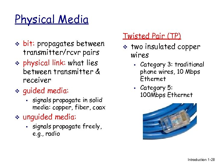 Physical Media v v v bit: propagates between transmitter/rcvr pairs physical link: what lies