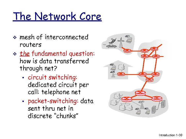 The Network Core v v mesh of interconnected routers the fundamental question: how is