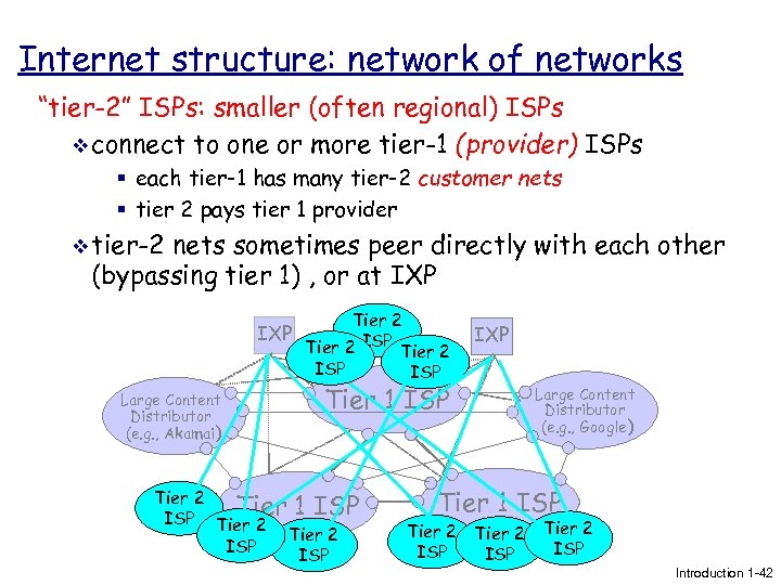 "Internet structure: network of networks ""tier-2"" ISPs: smaller (often regional) ISPs v connect to"