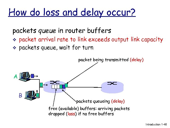 How do loss and delay occur? packets queue in router buffers v v packet