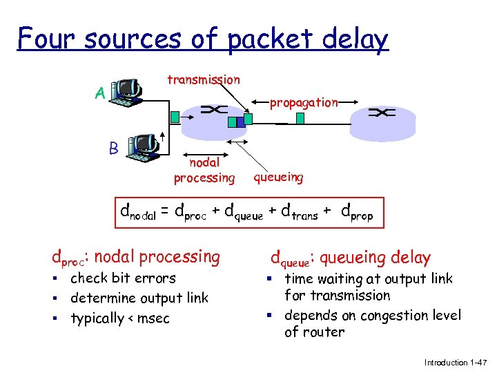 Four sources of packet delay transmission A propagation B nodal processing queueing dnodal =