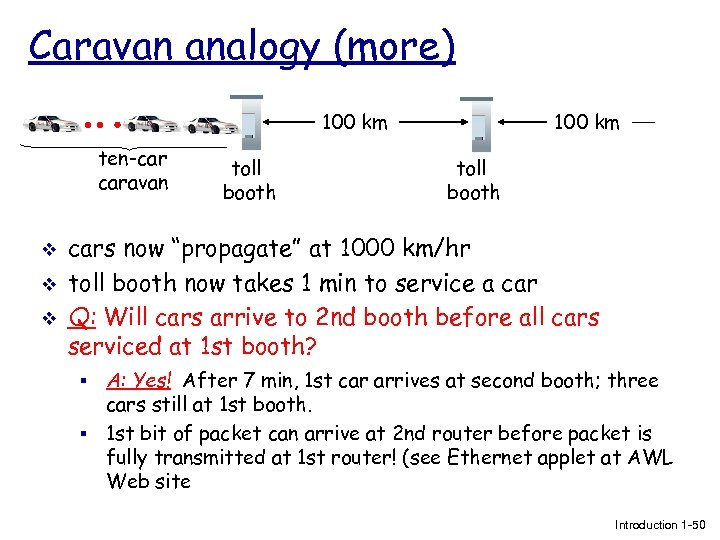 Caravan analogy (more) 100 km ten-car caravan v v v toll booth 100 km