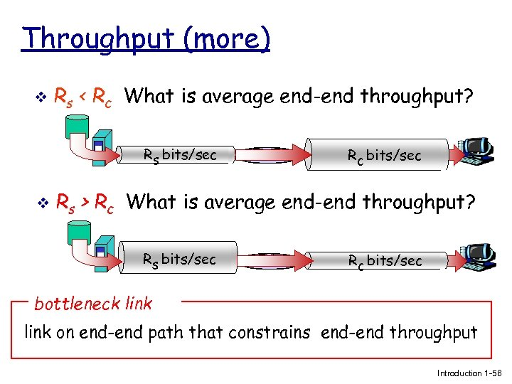 Throughput (more) v Rs < Rc What is average end-end throughput? Rs bits/sec v