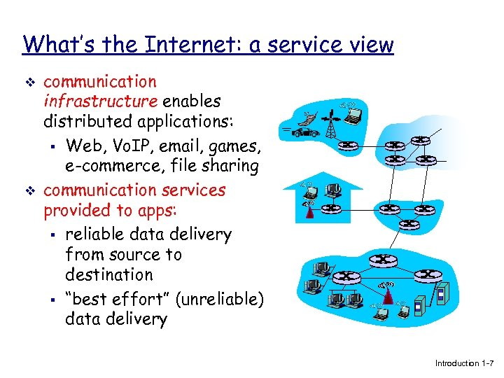 What's the Internet: a service view v v communication infrastructure enables distributed applications: §