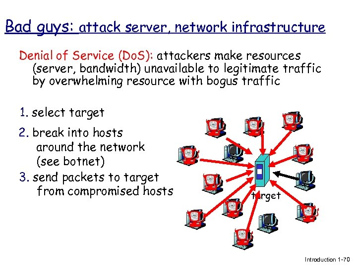 Bad guys: attack server, network infrastructure Denial of Service (Do. S): attackers make resources