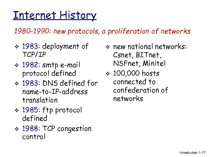 Internet History 1980 -1990: new protocols, a proliferation of networks v v v 1983: