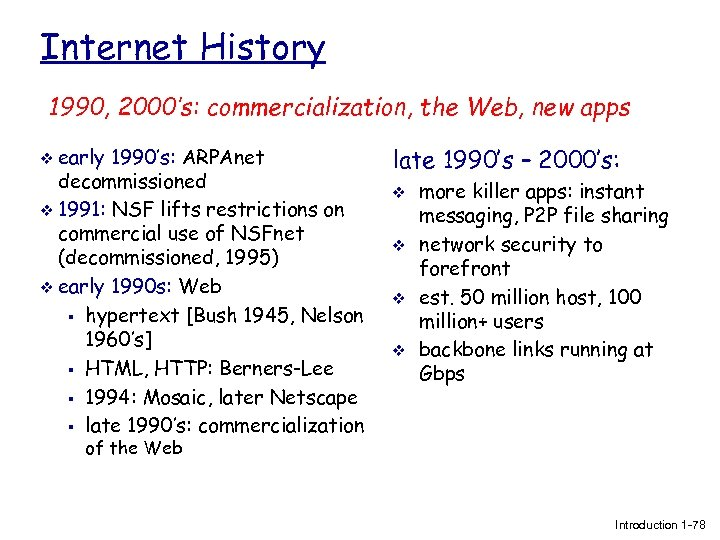 Internet History 1990, 2000's: commercialization, the Web, new apps v early 1990's: ARPAnet decommissioned