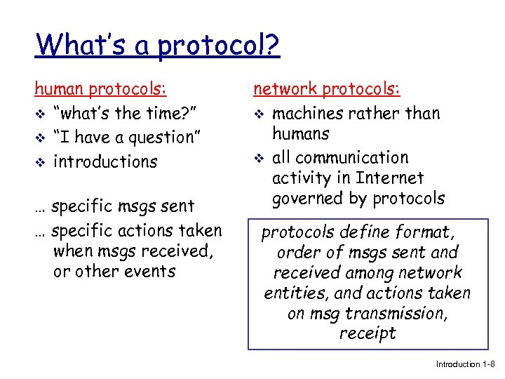 "What's a protocol? human protocols: v ""what's the time? "" v ""I have a"