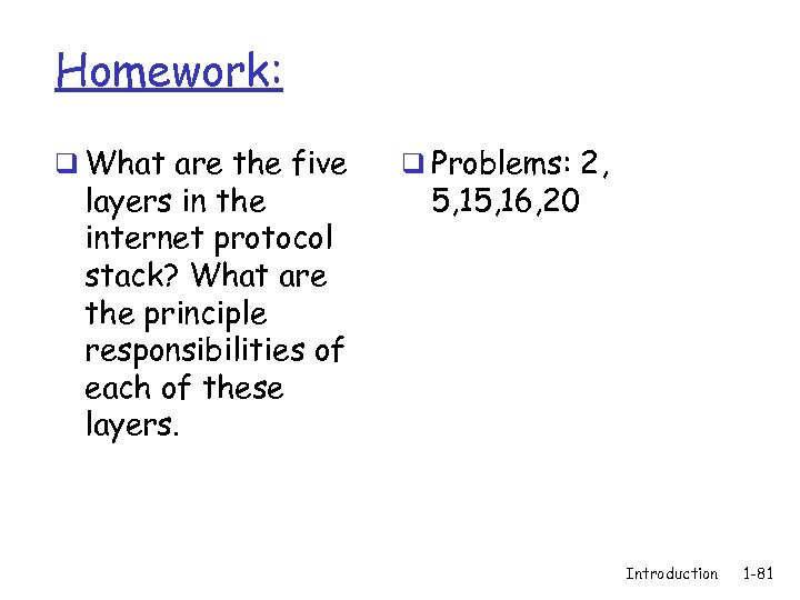 Homework: q What are the five layers in the internet protocol stack? What are