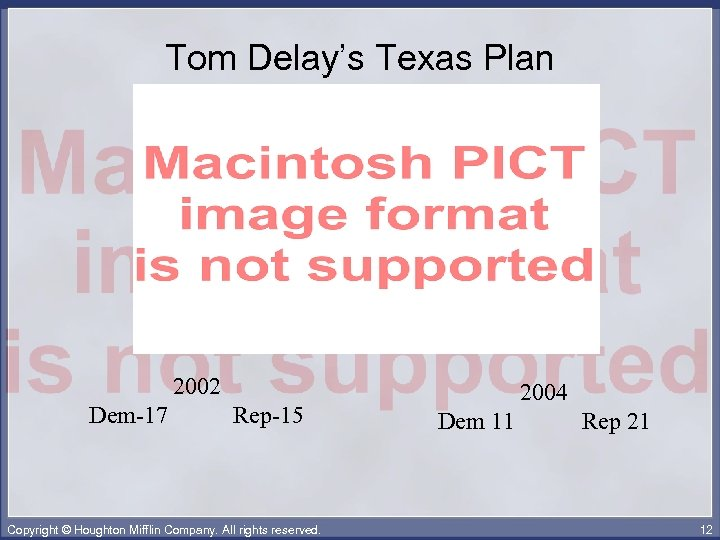 Tom Delay's Texas Plan 2002 Dem-17 Rep-15 Copyright © Houghton Mifflin Company. All rights