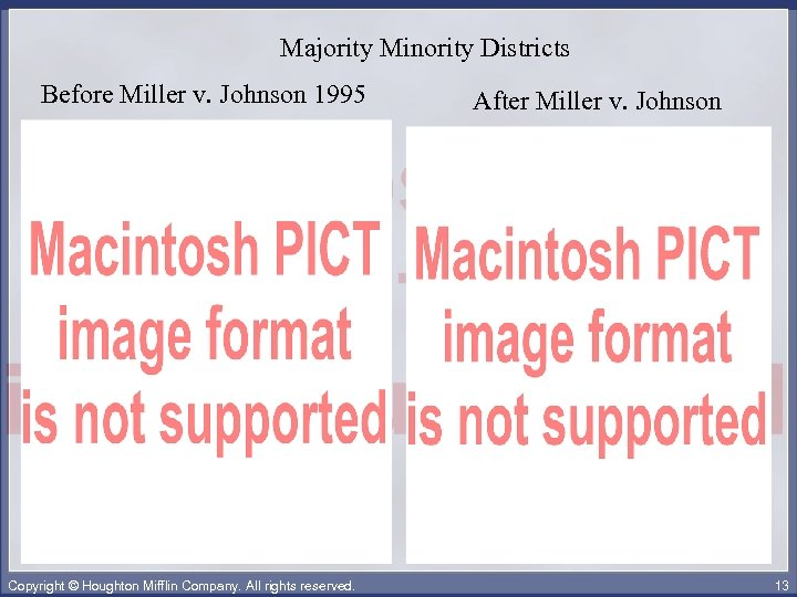 Majority Minority Districts Before Miller v. Johnson 1995 Copyright © Houghton Mifflin Company. All