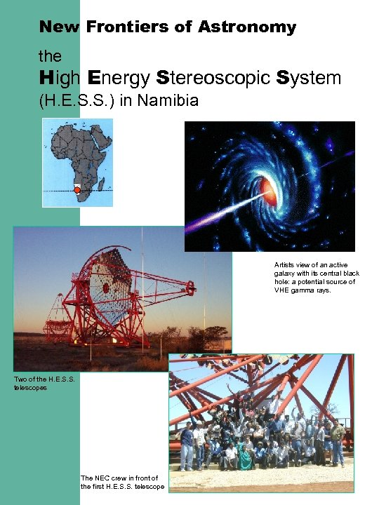 New Frontiers of Astronomy the High Energy Stereoscopic System (H. E. S. S. )