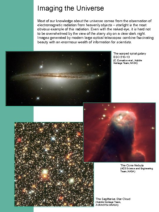 Imaging the Universe Most of our knowledge about the universe comes from the observation