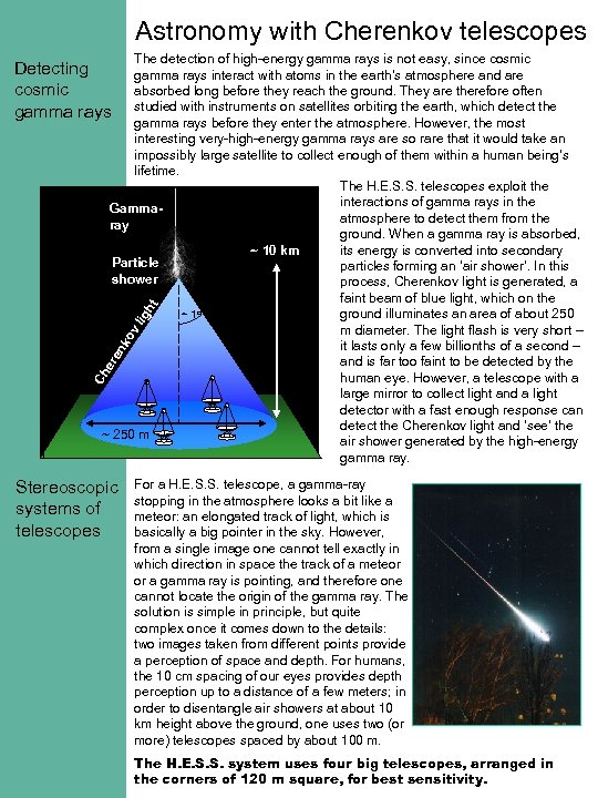 Astronomy with Cherenkov telescopes The detection of high-energy gamma rays is not easy, since
