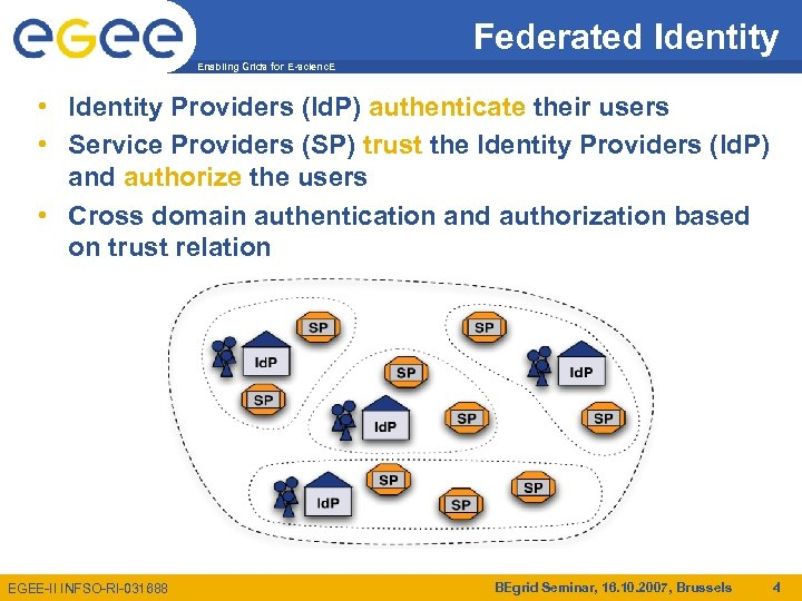 Federated Identity Enabling Grids for E-scienc. E • Identity Providers (Id. P) authenticate their