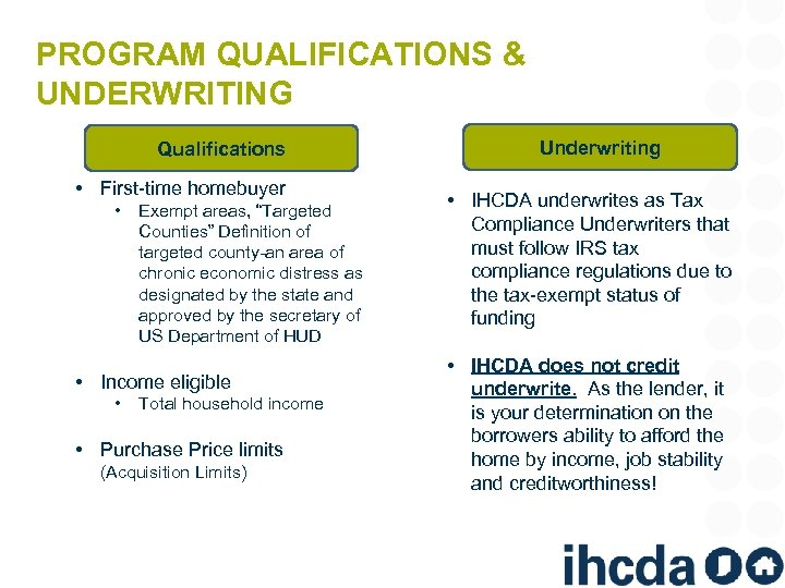 "PROGRAM QUALIFICATIONS & UNDERWRITING Qualifications • First-time homebuyer • Exempt areas, ""Targeted Counties"" Definition"