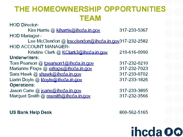 THE HOMEOWNERSHIP OPPORTUNITIES TEAM HOD Director. Kim Harris @ kiharris@ihcda. in. gov 317 -233