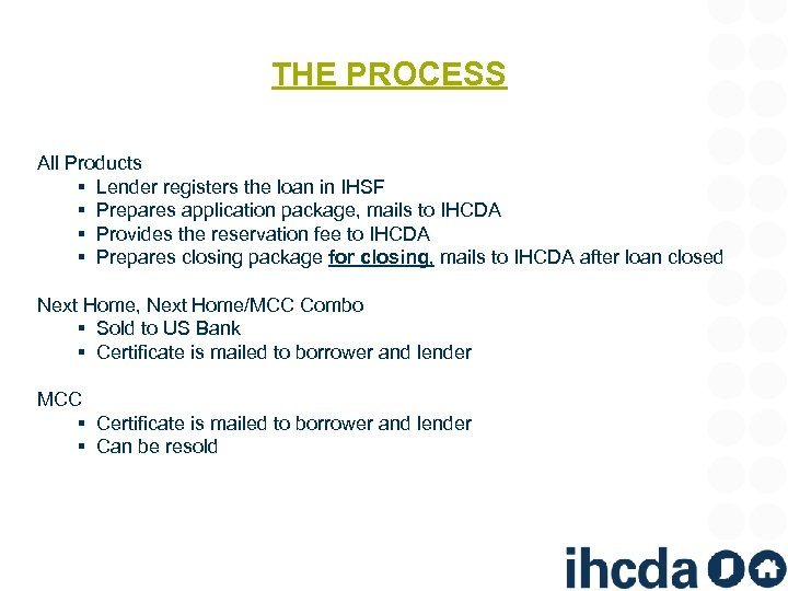 THE PROCESS All Products § Lender registers the loan in IHSF § Prepares application