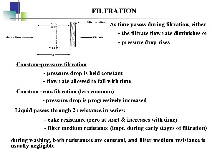 FILTRATION As time passes during filtration, either - the filtrate flow rate diminishes or