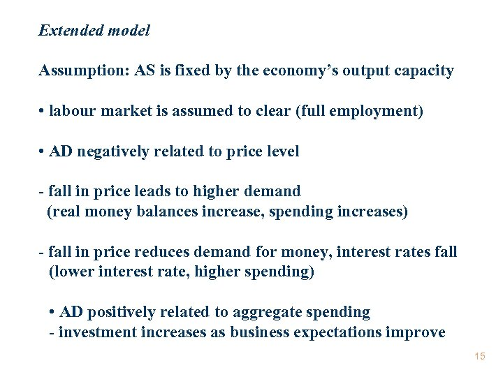 Extended model Assumption: AS is fixed by the economy's output capacity • labour market