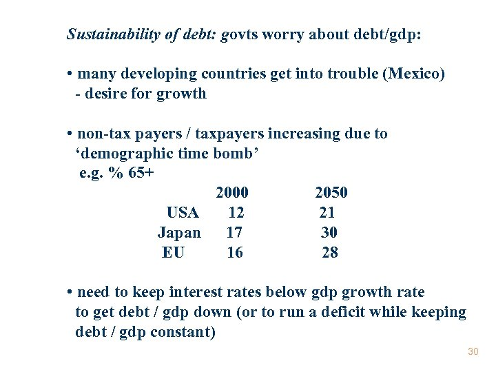 Sustainability of debt: govts worry about debt/gdp: • many developing countries get into trouble