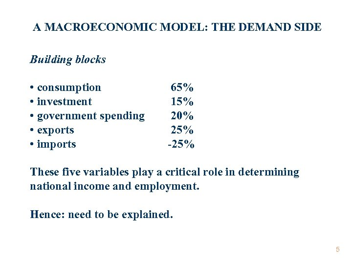 A MACROECONOMIC MODEL: THE DEMAND SIDE Building blocks • consumption • investment • government